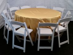 Round tables, white padded folding chairs and gold tablecloths for rent #PartyRentals #LosAngeles #PartyRentalsLosAngeles #KidsPartyRentals - http://www.bigblueskyparty.com/table--chair-rentals.html