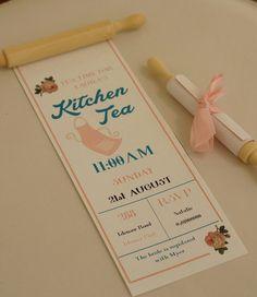 Kitchen Tea invitation rolling pin Bridal by PaperHeartSydney