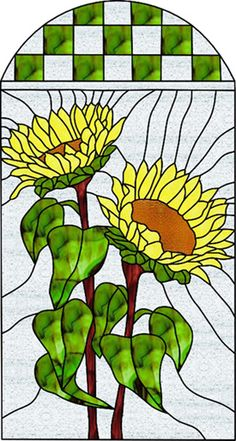 Stained+Glass+Patterns+Flowers | Stained Glass Patterns :: Two Large Faced Upright Sunflowers ...