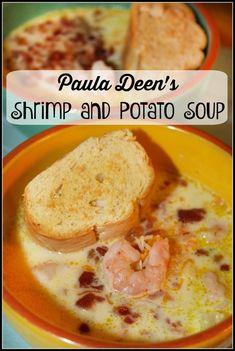 Deen's Shrimp and Potato Soup Potato Soup with Shrimp and Bacon - a Paula Deen recipePotato Soup with Shrimp and Bacon - a Paula Deen recipe Yummy Appetizers, Yummy Snacks, Yummy Food, Yummy Mummy, Yummy Eats, Potato Sides, Potato Side Dishes, Paula Deen Potato Soup, Olio Recipe