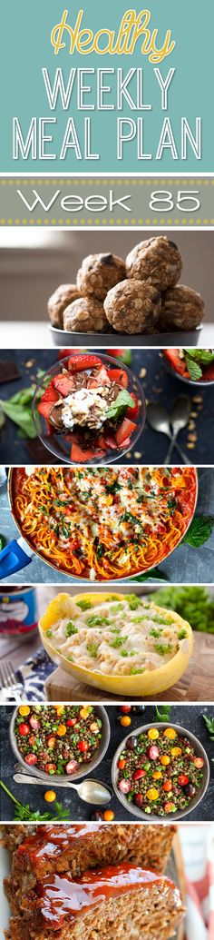 This week's Healthy Weekly Meal Plan #85is full of delicious dinner recipes every night of the week as well as a healthy breakfast, lunch, side dish and dessert, too! You will love the variety of all the healthy meals this week!