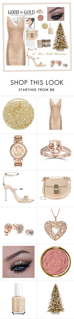 A Rose Gold Christmas by samyasabriyya on Polyvore featuring Hervé Léger, Sophia Webster, Chloé, GUESS, Michael Kors, Bliss Diamond, Milani, Essie, Lancôme and Primal Elements