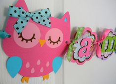 Colorful Owl Birthday Party  Name Banner by sweetheartpartyshop, $24.00