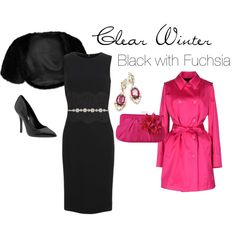"""""""Clear Winter Cocktail Dress"""" by simplycrimson on Polyvore  Black and fuchsia make a stunning combination for  a clear winter's evening wear."""