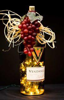 Mini lights in wine bottle