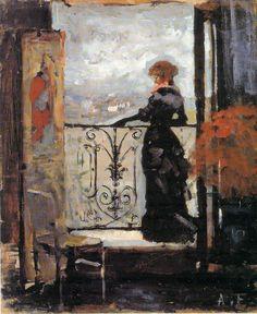 Albert Edelfelt - Nainen parvekkeella, luonnos, n. 1880-1884