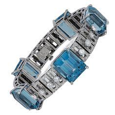 Meister Aquamarine Diamond Bracelet For Sale Aquamarine Bracelet, Diamond Bracelets, Diamond Jewelry, Bangle Bracelets, Blue Bracelets, Antique Bracelets, Sterling Silver Bracelets, Diamond Cuts, Fine Jewelry