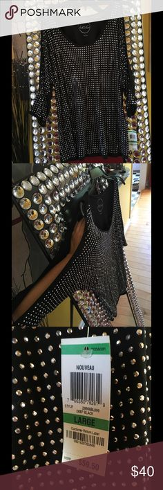 ⚡️👩🎤HP👩🎤⚡️Black cold shoulder split sleeve ✨Gorgeous Black top embellished with shiny silver studs all over the front side of the shirt & sleeve with sleeve splits from shoulder to wrist on both sides. Lightweight  & very eye catching 🎶I know it's only Rock N Roll but I like it🎶 INC International Concepts Tops Blouses