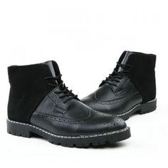 50578d4c2a74 Fashion Engraving and Splicing Design Men s Boots, BLACK, 44 in Men s Shoes    DressLily