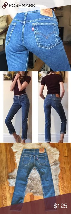 """❄️Vintage 505 True Blue Levi's 25❄️ Amazing and GORGEOUS true blue vintage 505 Levi's! Rare style, color and size! 27"""" waist, 9.5"""" rise, 29"""" inseam! The waist measures 27"""" because they sit lower on your hips so it's wider there but they fit a 25. Great quality denim and these actually hug your butt! They have awesome vintage wear and fading and a little scuff as pictured that adds character! Upon purchase, I can cut off and fray the hem to any measurement if you'd like. Seriously BEAUTIFUL…"""