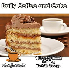 Join us every day between 15h00 and 17h00 for our daily Cake of the day with filtered Coffee special for only R20.00. The Coffee Market George serving you more than just coffee. #dailyspecial #comfortfood #cuisine