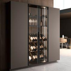 Kitchen Room Design, Modern Kitchen Design, Interior Design Kitchen, Kitchen Decor, Modern Design, Home Wine Cellars, Home Bar Designs, Wine Wall, Wine Cabinets