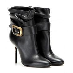 Burberry London Portburry Leather Ankle Boots ($1,065) ❤ liked on Polyvore featuring shoes, boots, ankle booties, heels, ankle bootie, burberry, black, black leather booties, heeled booties and black boots