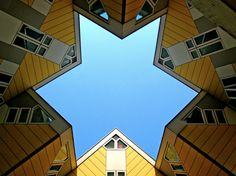 "The kubus houses shapes a different form      Heavenuphere ""star shaped sky"" / Piet Blom ""Kubus housing"", 1984, Rotterdam Netherlands"