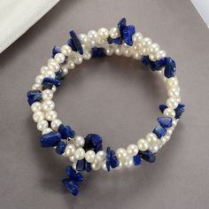 White Freshwater Pearl Nugget Lapis Lazuli Bracelet Memory Wire Adjustable - Before After DIY Gold Pearl Ring, Baroque Pearl Necklace, Pearl Jewelry, Gemstone Jewelry, Pearl Necklaces, Jewelery, Freshwater Pearl Bracelet, White Freshwater Pearl, Memory Wire Bracelets