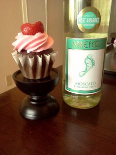Chocolate Moscato Cupcakes with a Strawberry Moscato Buttercream frosting-topped with a Heart shaped strawberry!