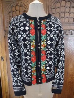 Dale of Norway vintage nordic wool cardigan sweater vibrant colors embroidered trim filigree buttons Made in Norway all wool size Small. $50.00, via Etsy.