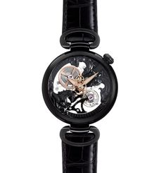 Kerbedanz Three-Horses Black Edition manual-winding skeletonised watch.