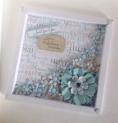 Stunñing box frame card created by Kath Woods using the Serenity collection.