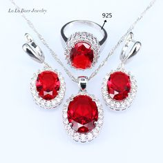 L&B Handmade Red created Garnet Bridal Jewelry Sets in China Silver Color Drop Earrings Pendant Necklace Rings For Women //Price: $US $11.67 & FREE Shipping //     #hashtag4