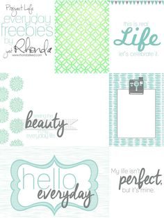 FREE Printables: Project Life Fridays | Everyday Freebies Journal/Filler cards | RhondaSteed.com