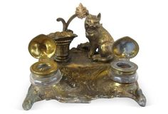 Antique Gilded French Cat Inkwell