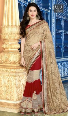 Stunning Patch Border Work Beige Karishma Kapoor Designer Saree Be the sunshine of everyone's eyes dressed in this Karishma Kapoor beige georgette and net designer saree. The embroidered and patch border work looks chic and perfect for festival and party.