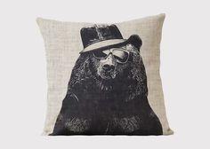 Hipster Bear Cushion - Jasper & Tallow Furniture
