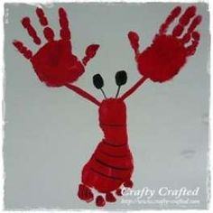 Preschool Crafts for Kids*: Handprint and Footprint Lobster Craft
