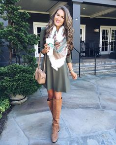 swing dress, blanket scarf and over-the-knee boots | Skirt the Ceiling