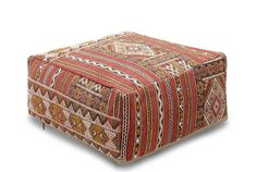 Moroccan Kilim Floor Pouf Cover, Berber Handmade, Bohemian Ottoman ...