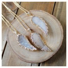 Angel Wing Druzy Necklace ($50) ❤ liked on Polyvore featuring jewelry…