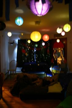 "Customer Story: ""For my son's 3rd birthday, he asked for a spaceship party. So rather than just blowing up some balloons and hanging up some spaceships I decided to give him a party in outerspace. After much thinking, I decided I wanted to use paper lanterns as my planets, moons, and sun. Needless to say my son LOVED LOVED LOVED it as did all the guest. It was a birthday to remember."" (Kim T. / West boylston MA) (www.paperlanternstore.com)"