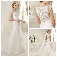 Jewel Neckline Mermaid Style with Exquisite Lace Back Wedding DressesCustomer made wedding dresses as customers requirements