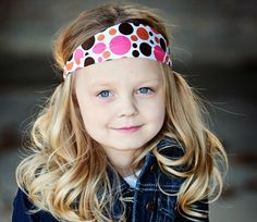 White with pink orange and brown dots headband by BabyButtonTops, $6.00
