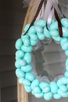Easter egg wreath (spray paint plastic eggs)