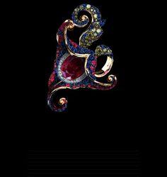 Jewellery Theatre: Amarilys Ring Ref: 020 Yellow Gold 20 diamond ct 127 green diamonds ct 108 blue diamonds ct 1 oval ruby ct 228 rubbies ct 134 sapphires ct Gems Jewelry, High Jewelry, Jewelry Art, Diamond Jewelry, Jewelery, Fashion Jewelry, Jewelry Design, Unique Jewelry, Green Diamond
