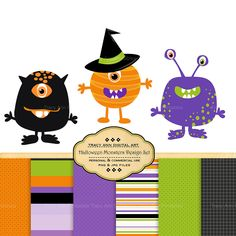 Halloween Monster clip art and Halloween Digital papers for invites, scrapbooking