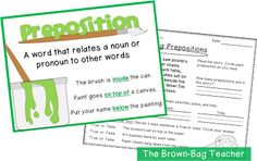 {FREE} Preposition Anchor Chart & Activity