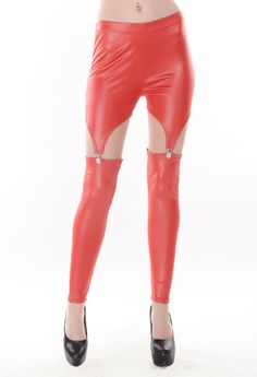 Wholesale Women's Leather Fashion Leggings 3 color Black,White,Red  -$5.25