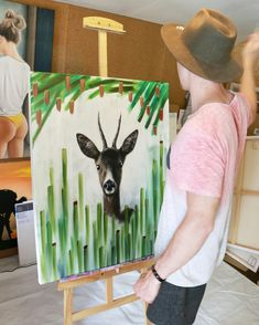 """Günter Leiter painting """"deer in the gras"""" Paper Shopping Bag, Painting, Decor, Ladder, Pictures, Decoration, Painting Art, Paintings, Decorating"""