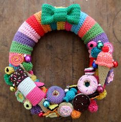 I never saw the point of crochet sweeties and ice creams before, but I love this wreath by I Love Buttons By Emma!