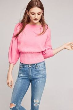 pink color cropped balloon sleeve pullover #anthropologie