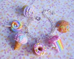 Polymer Clay Pastel Sweets Dessert Charm Bracelet Candy Cake Ice Cream Cookies…