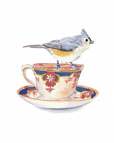 Bird Watercolor PRINT  5x7 Print Teacup by WaterInMyPaint on Etsy