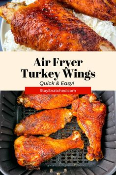 These Crispy Air Fryer Turkey Wings are perfectly seasoned and ready in no time. Pair these with your favorite side dishes for weeknight dinner, Thanksgiving, holidays, and more. Air Fry Recipes, Air Fryer Dinner Recipes, Healthy Recipes, Cinderella Recipe, Turkey Wings, Air Fryer Healthy, Party Food And Drinks, Food Website, Comfort Foods