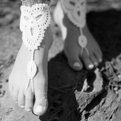 Crochet Barefoot Sandals for beach brides and boho by ForeverSoles, $37.50