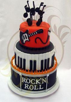 cool guitar/piano rock n roll cake Music Themed Cakes, Music Cakes, Drum Cake, Guitar Cake, Fancy Cakes, Cute Cakes, Fondant Cakes, Cupcake Cakes, Bolo Musical