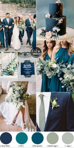 Navy Blue, Sage and Teal Wedding Color Combos Happy New Year To you & your family. Wishing you all a glorious New Year. Hope that 2020 will reward all your future dreams with success. Thank you to you all for the love and support Fab Mood so generously. Wedding Color Combinations, Color Combos, Summer Wedding Colors, Teal Wedding Flowers, Pastel Wedding Colors, Fall Wedding Bouquets, Teal Wedding Cakes, Color Palette For Wedding, Teal Wedding Dresses