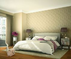 Golden-beige, embroidered flower tendrils stand out from this smooth beige background, impressing us with their fascinating beauty and elegance. For classically beautiful walls. Beige Background, Beautiful Wall, Embroidered Flowers, Elegant, Bed, Furniture, Home Decor, Catalog, Smooth